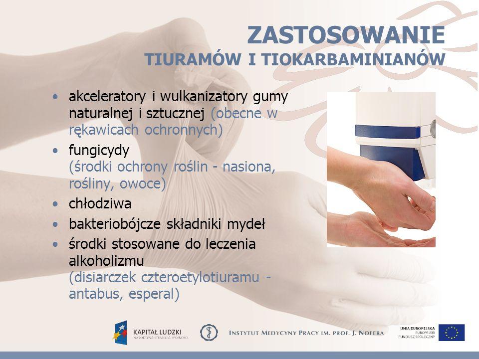 ZASTOSOWANIE TIURAMÓW I TIOKARBAMINIANÓW akceleratory i wulkanizatory gumy naturalnej i sztucznej (obecne w rękawicach ochronnych) fungicydy (środki ochrony roślin - nasiona, rośliny, owoce) chłodziwa bakteriobójcze składniki mydeł środki stosowane do leczenia alkoholizmu (disiarczek czteroetylotiuramu - antabus, esperal)