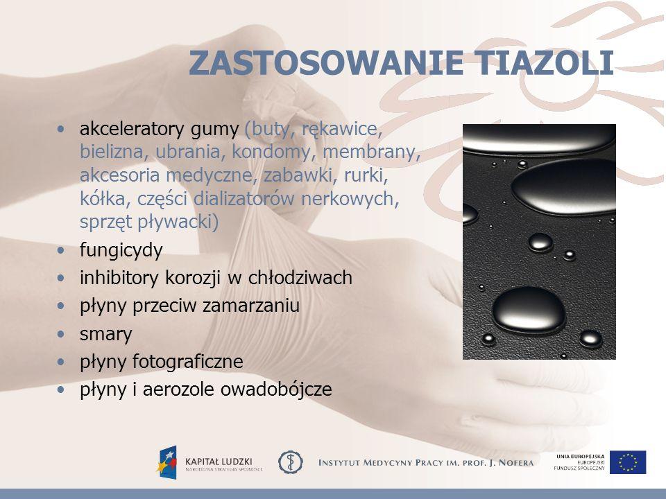 ZASTOSOWANIE TIAZOLI akceleratory gumy (buty, rękawice, bielizna, ubrania, kondomy, membrany, akcesoria medyczne, zabawki, rurki, kółka, części dializatorów nerkowych, sprzęt pływacki) fungicydy inhibitory korozji w chłodziwach płyny przeciw zamarzaniu smary płyny fotograficzne płyny i aerozole owadobójcze
