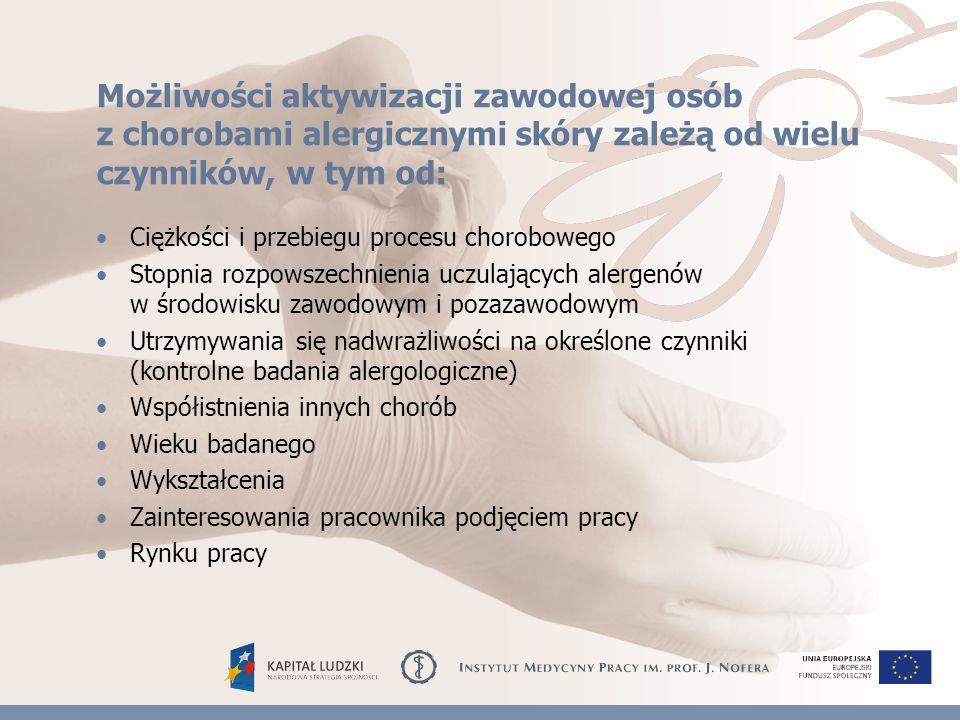 Możliwości aktywizacji zawodowej osób z chorobami alergicznymi skóry zależą od wielu czynników, w tym od: Ciężkości i przebiegu procesu chorobowego Stopnia rozpowszechnienia uczulających alergenów w środowisku zawodowym i pozazawodowym Utrzymywania się nadwrażliwości na określone czynniki (kontrolne badania alergologiczne) Współistnienia innych chorób Wieku badanego Wykształcenia Zainteresowania pracownika podjęciem pracy Rynku pracy