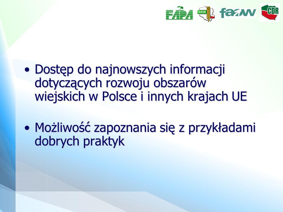 Dostęp do najnowszych informacji dotyczących rozwoju obszarów wiejskich w Polsce i innych krajach UEDostęp do najnowszych informacji dotyczących rozwo
