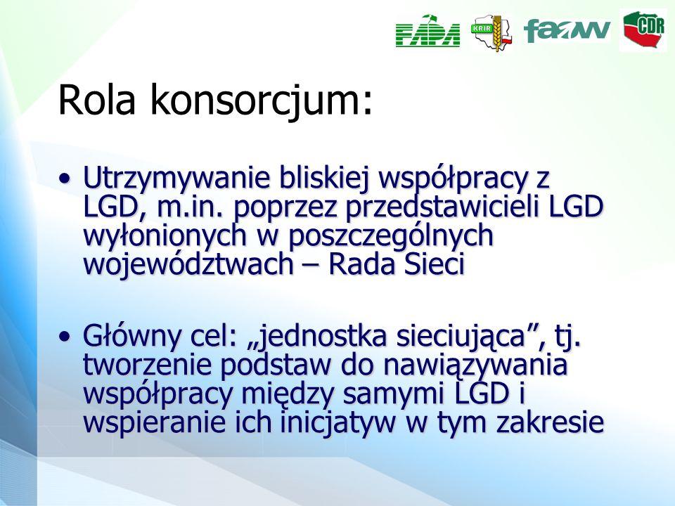 Rola konsorcjum: Utrzymywanie bliskiej współpracy z LGD, m.in. poprzez przedstawicieli LGD wyłonionych w poszczególnych województwach – Rada SieciUtrz