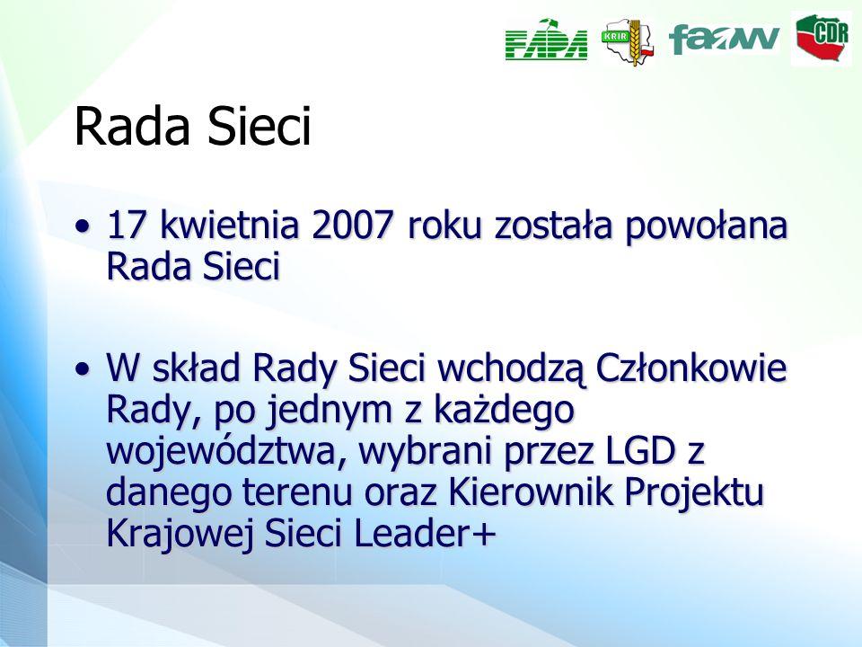 Rada Sieci 17 kwietnia 2007 roku została powołana Rada Sieci17 kwietnia 2007 roku została powołana Rada Sieci W skład Rady Sieci wchodzą Członkowie Rady, po jednym z każdego województwa, wybrani przez LGD z danego terenu oraz Kierownik Projektu Krajowej Sieci Leader+W skład Rady Sieci wchodzą Członkowie Rady, po jednym z każdego województwa, wybrani przez LGD z danego terenu oraz Kierownik Projektu Krajowej Sieci Leader+