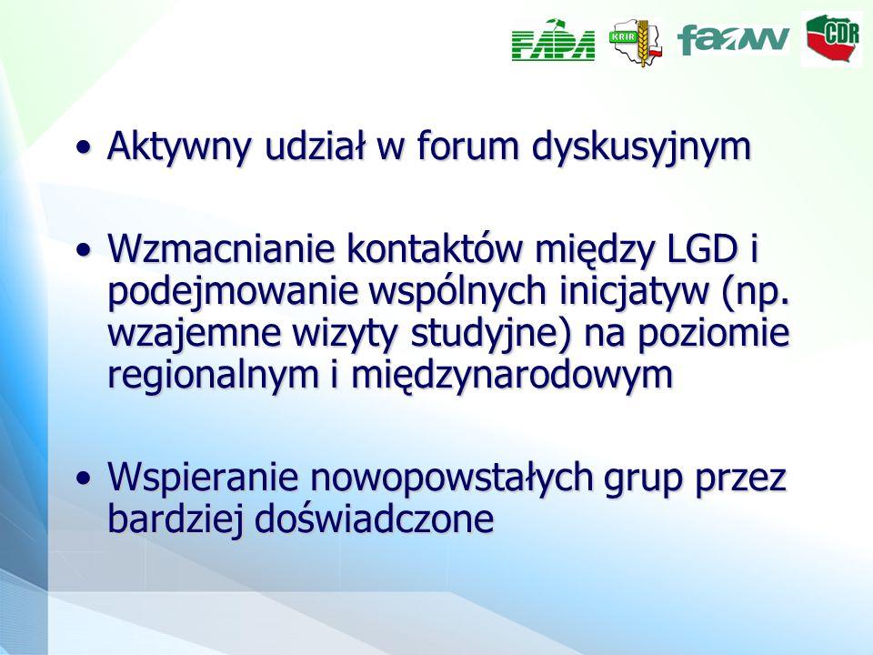 Aktywny udział w forum dyskusyjnymAktywny udział w forum dyskusyjnym Wzmacnianie kontaktów między LGD i podejmowanie wspólnych inicjatyw (np. wzajemne