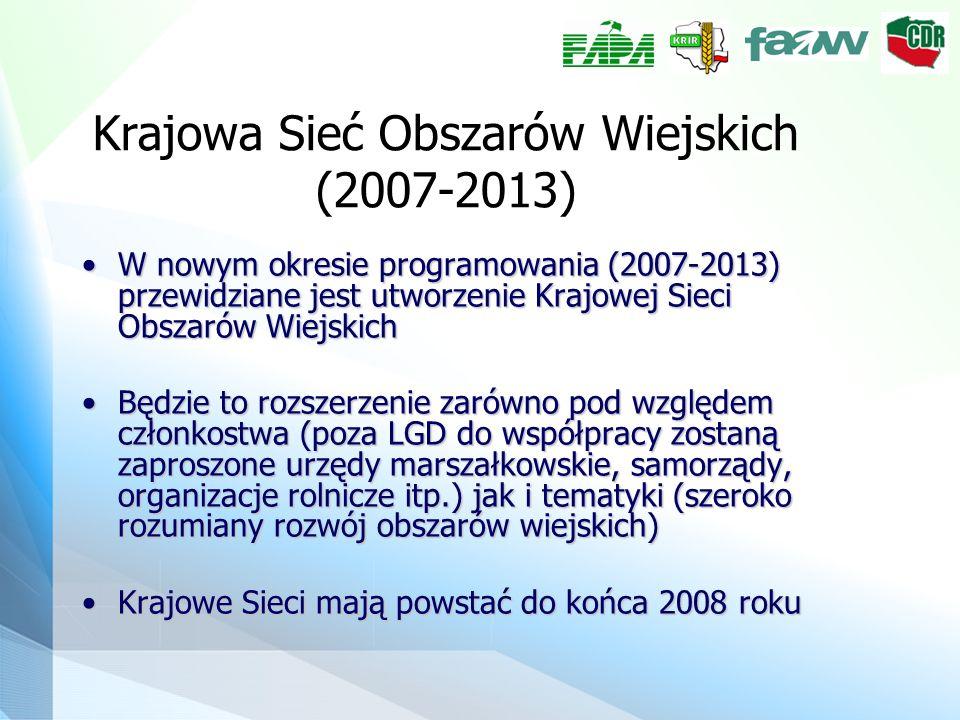 Krajowa Sieć Obszarów Wiejskich (2007-2013) W nowym okresie programowania (2007-2013) przewidziane jest utworzenie Krajowej Sieci Obszarów WiejskichW