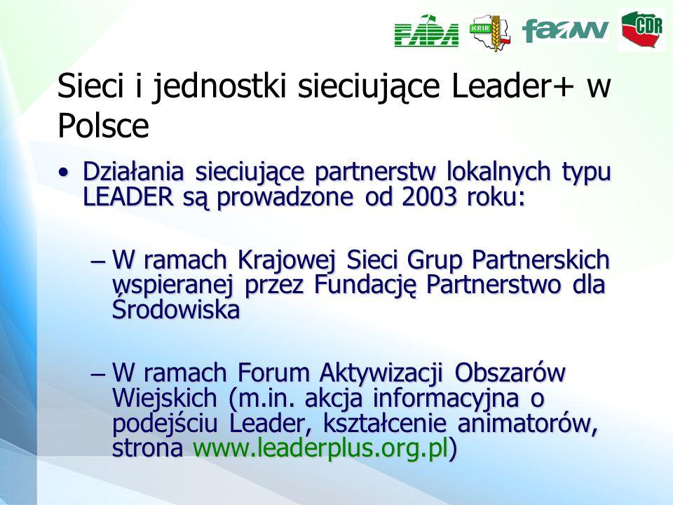 Sieci i jednostki sieciujące Leader+ w Polsce Działania sieciujące partnerstw lokalnych typu LEADER są prowadzone od 2003 roku:Działania sieciujące partnerstw lokalnych typu LEADER są prowadzone od 2003 roku: – W ramach Krajowej Sieci Grup Partnerskich wspieranej przez Fundację Partnerstwo dla Środowiska – W ramach Forum Aktywizacji Obszarów Wiejskich (m.in.