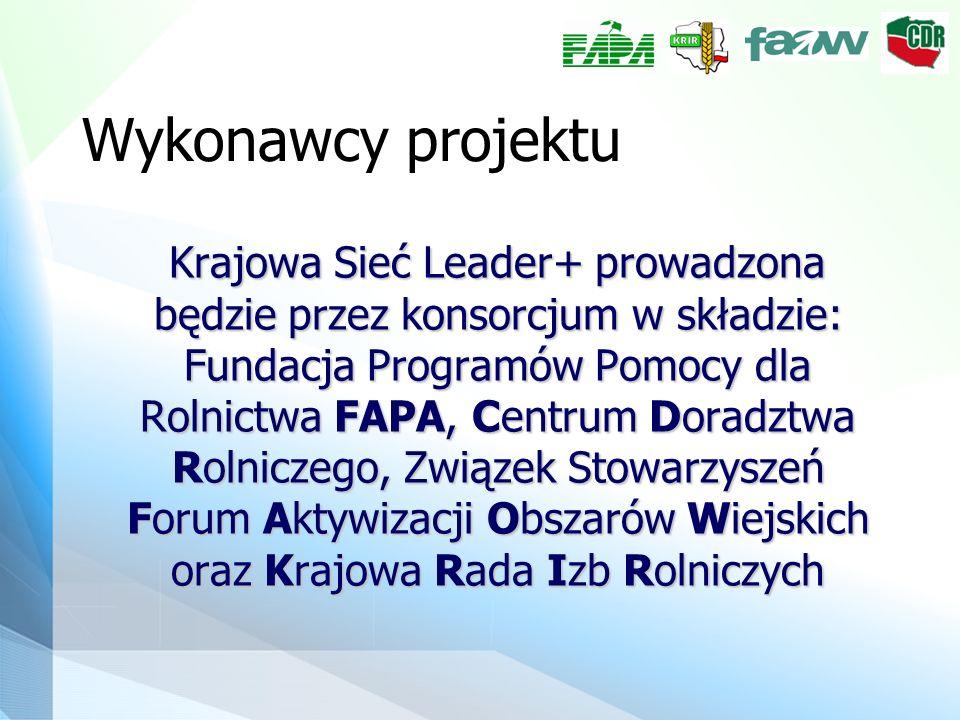 Wykonawcy projektu Krajowa Sieć Leader+ prowadzona będzie przez konsorcjum w składzie: Fundacja Programów Pomocy dla Rolnictwa FAPA, Centrum Doradztwa Rolniczego, Związek Stowarzyszeń Forum Aktywizacji Obszarów Wiejskich oraz Krajowa Rada Izb Rolniczych Krajowa Sieć Leader+ prowadzona będzie przez konsorcjum w składzie: Fundacja Programów Pomocy dla Rolnictwa FAPA, Centrum Doradztwa Rolniczego, Związek Stowarzyszeń Forum Aktywizacji Obszarów Wiejskich oraz Krajowa Rada Izb Rolniczych