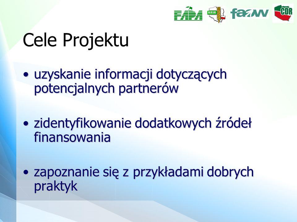 Cele Projektu uzyskanie informacji dotyczących potencjalnych partnerówuzyskanie informacji dotyczących potencjalnych partnerów zidentyfikowanie dodatk