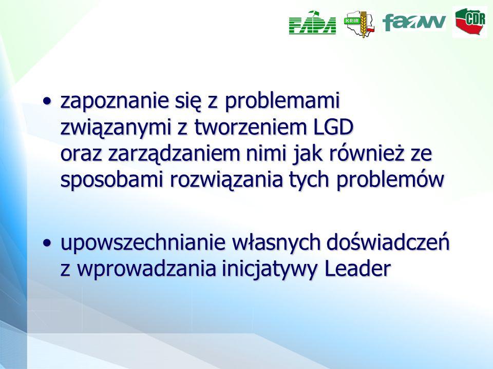 zapoznanie się z problemami związanymi z tworzeniem LGD oraz zarządzaniem nimi jak również ze sposobami rozwiązania tych problemówzapoznanie się z problemami związanymi z tworzeniem LGD oraz zarządzaniem nimi jak również ze sposobami rozwiązania tych problemów upowszechnianie własnych doświadczeń z wprowadzania inicjatywy Leaderupowszechnianie własnych doświadczeń z wprowadzania inicjatywy Leader