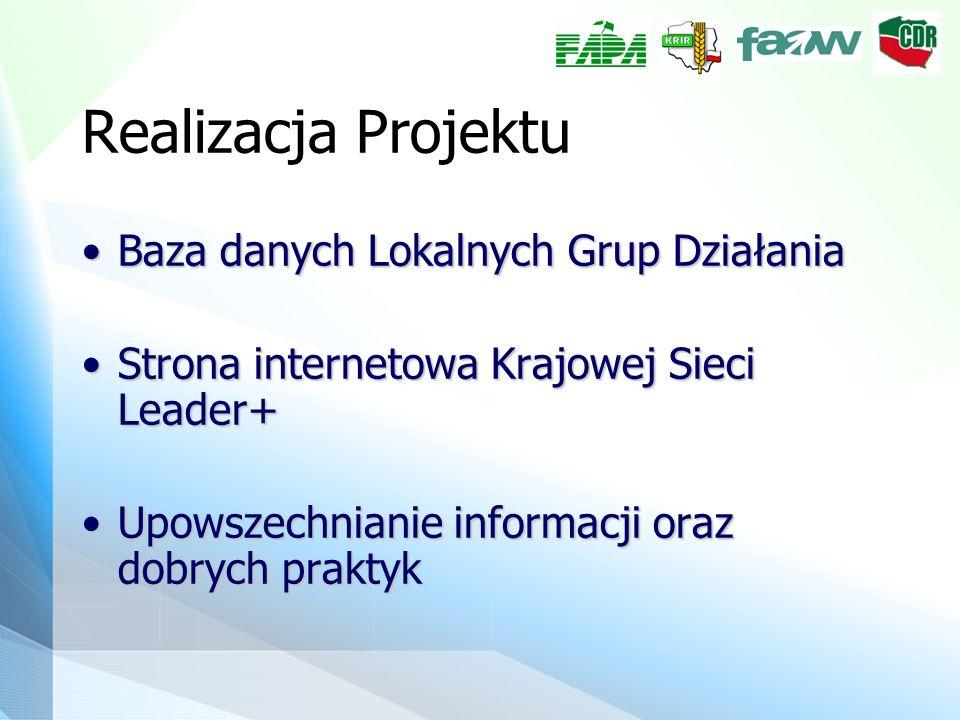 Realizacja Projektu Baza danych Lokalnych Grup DziałaniaBaza danych Lokalnych Grup Działania Strona internetowa Krajowej Sieci Leader+Strona internetowa Krajowej Sieci Leader+ Upowszechnianie informacji oraz dobrych praktykUpowszechnianie informacji oraz dobrych praktyk