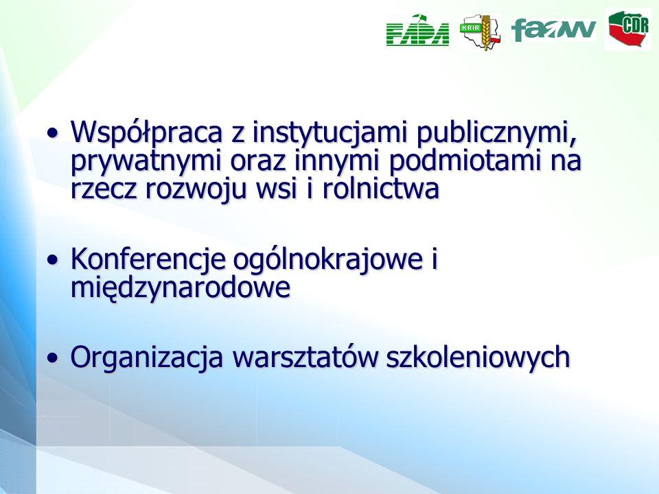 Współpraca z instytucjami publicznymi, prywatnymi oraz innymi podmiotami na rzecz rozwoju wsi i rolnictwaWspółpraca z instytucjami publicznymi, prywatnymi oraz innymi podmiotami na rzecz rozwoju wsi i rolnictwa Konferencje ogólnokrajowe i międzynarodoweKonferencje ogólnokrajowe i międzynarodowe Organizacja warsztatów szkoleniowychOrganizacja warsztatów szkoleniowych