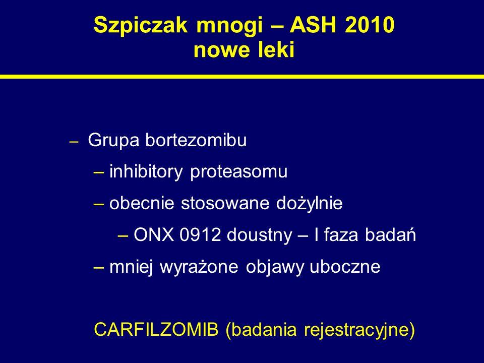 Szpiczak mnogi – ASH 2010 nowe leki – Grupa bortezomibu – inhibitory proteasomu – obecnie stosowane dożylnie – ONX 0912 doustny – I faza badań – mniej