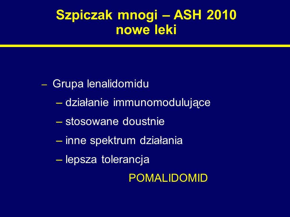 Szpiczak mnogi – ASH 2010 nowe leki – Grupa lenalidomidu – działanie immunomodulujące – stosowane doustnie – inne spektrum działania – lepsza toleranc