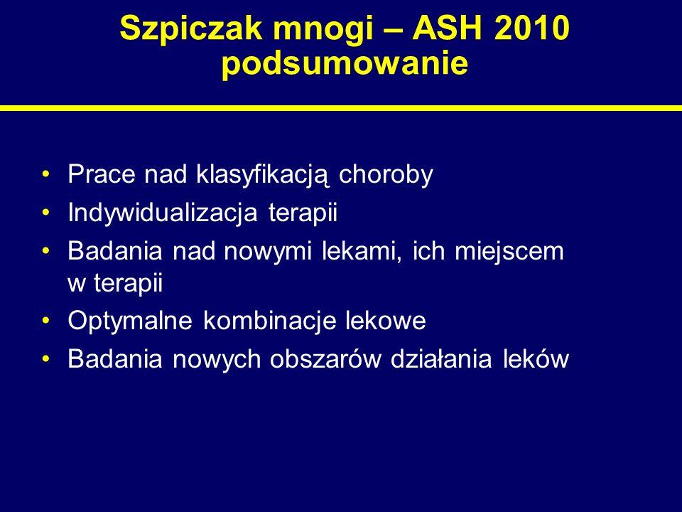 Szpiczak mnogi – ASH 2010 podsumowanie Prace nad klasyfikacją choroby Indywidualizacja terapii Badania nad nowymi lekami, ich miejscem w terapii Optym