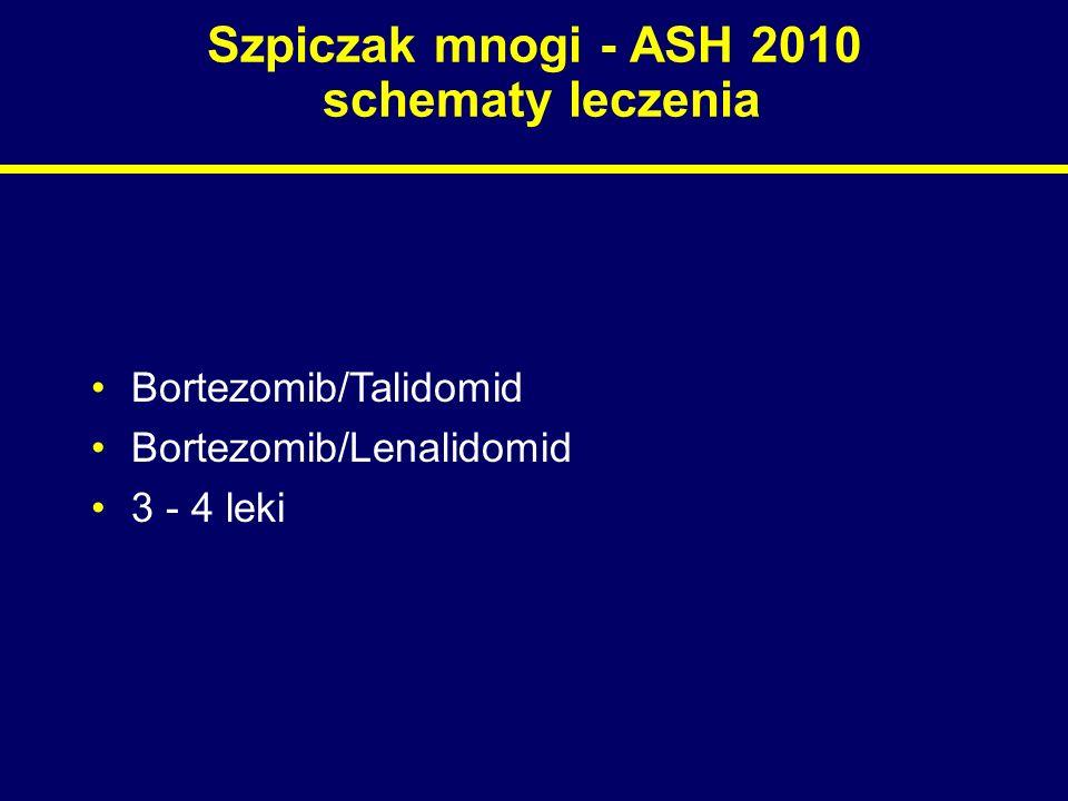 Szpiczak mnogi - ASH 2010 badania kliniczne Duże randomizowane badania –Zaplanowane przez grupy robocze Miejsce nowych leków w terapii Najkorzystniejsze kombinacje lekowe Optymalny schemat leczenia