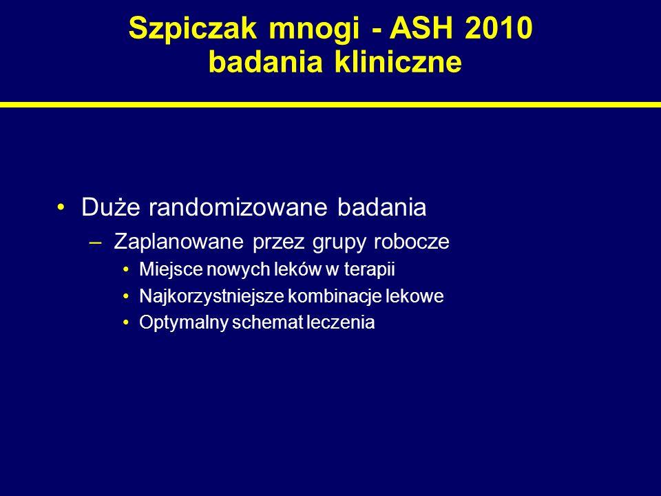 Szpiczak mnogi - ASH 2010 badania kliniczne Badania nowych leków –Zaplanowane przez sponsora Początkowe fazy u chorych z gorszym rokowaniem –Dwie najchętniej badane grupy Chorzy powyżej 65 r.ż., nie będący kandydatami do transplantacji Chorzy z oporną lub nawrotową postacią choroby