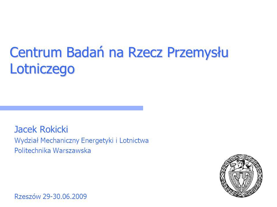 Jacek Rokicki Wydział Mechaniczny Energetyki i Lotnictwa Politechnika Warszawska Centrum Badań na Rzecz Przemysłu Lotniczego Rzeszów 29-30.06.2009
