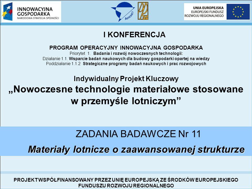 I Konferencja Inaugurująca Projekt Kluczowy Nowoczesne technologie materiałowe stosowane w przemyśle lotniczym 10-11 luty 2009 r.