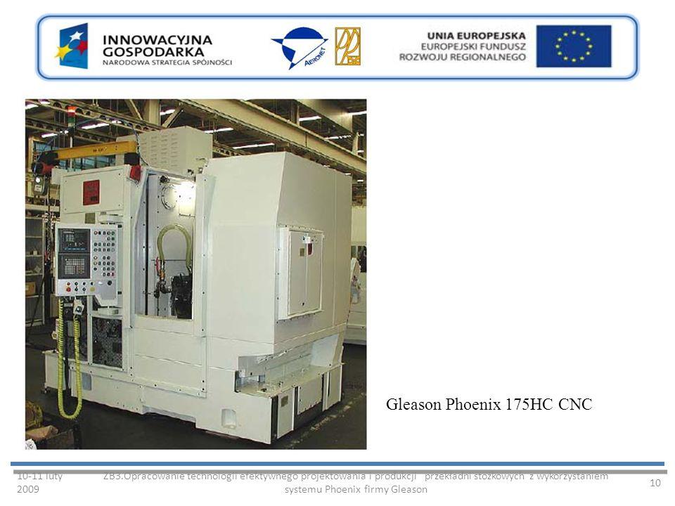 10-11 luty 2009 ZB3.Opracowanie technologii efektywnego projektowania i produkcji przekładni stożkowych z wykorzystaniem systemu Phoenix firmy Gleason 10 Gleason Phoenix 175HC CNC