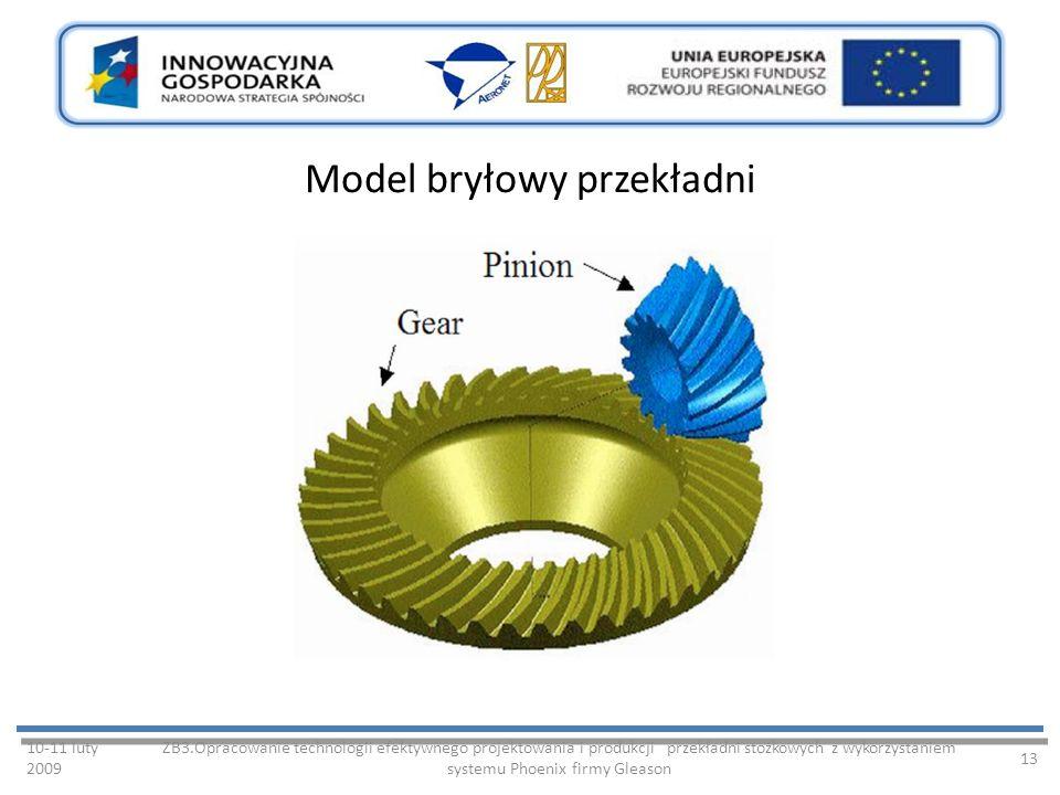 Model bryłowy przekładni 10-11 luty 2009 ZB3.Opracowanie technologii efektywnego projektowania i produkcji przekładni stożkowych z wykorzystaniem systemu Phoenix firmy Gleason 13