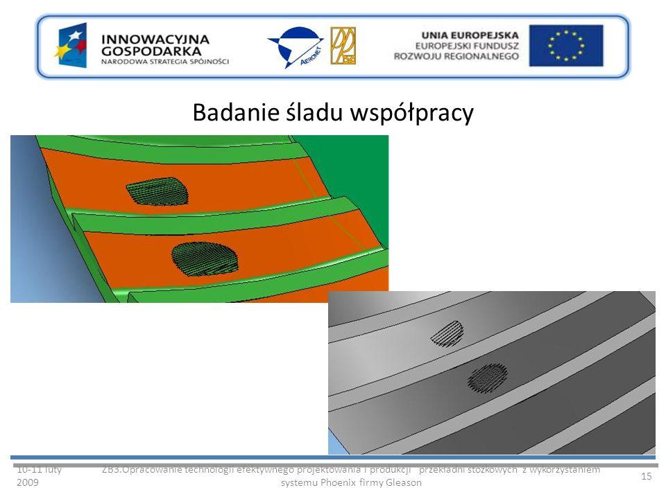 Badanie śladu współpracy 10-11 luty 2009 ZB3.Opracowanie technologii efektywnego projektowania i produkcji przekładni stożkowych z wykorzystaniem systemu Phoenix firmy Gleason 15