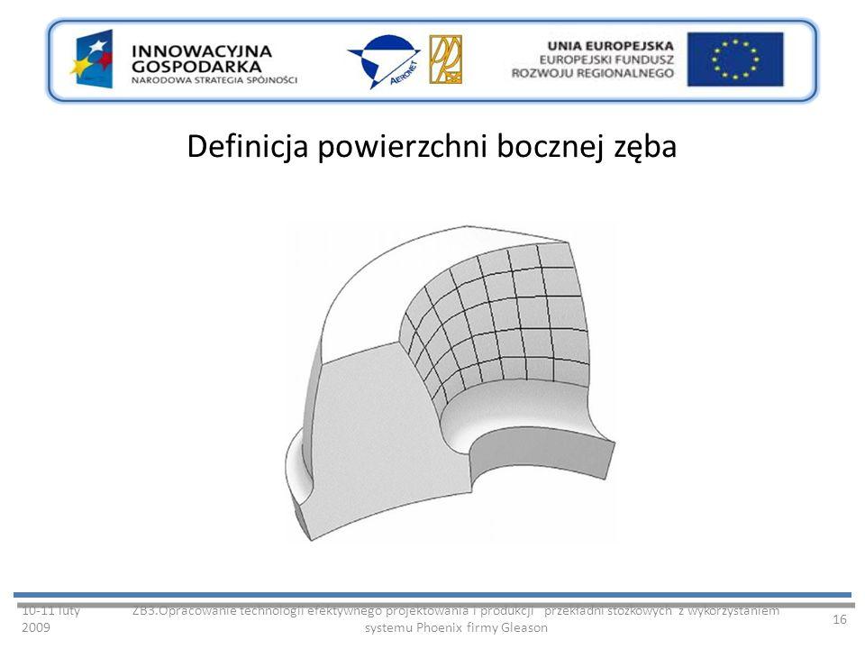 Definicja powierzchni bocznej zęba 10-11 luty 2009 ZB3.Opracowanie technologii efektywnego projektowania i produkcji przekładni stożkowych z wykorzystaniem systemu Phoenix firmy Gleason 16