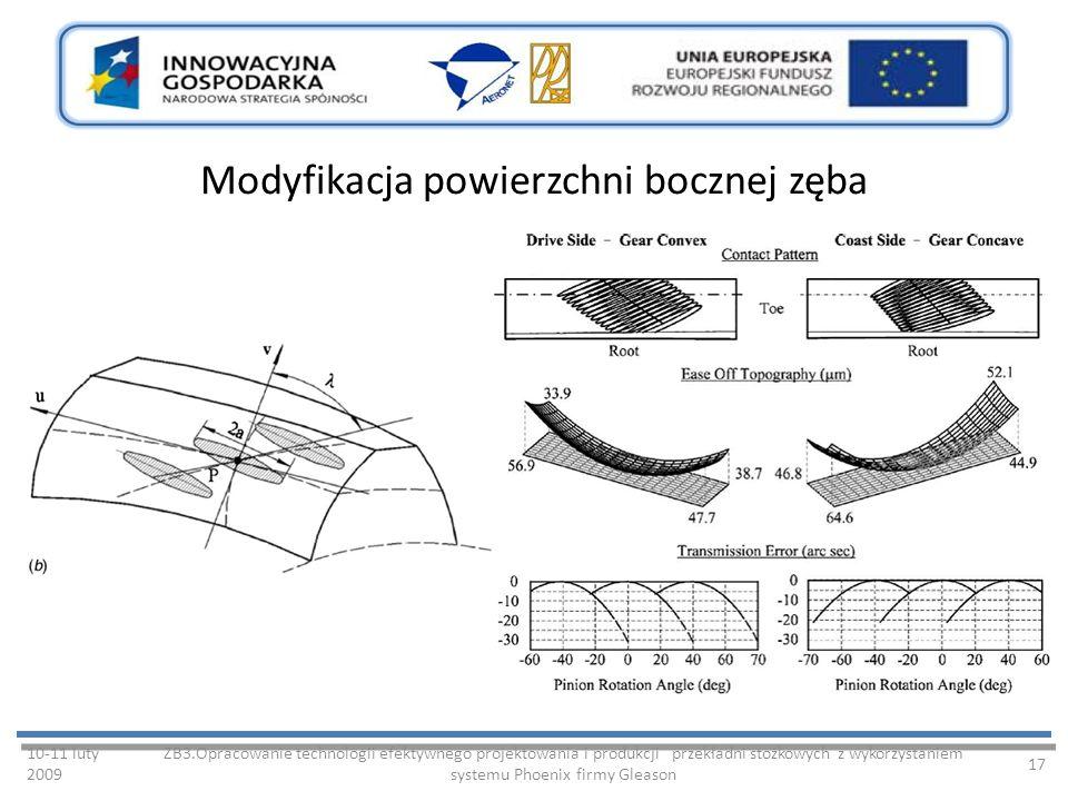 Modyfikacja powierzchni bocznej zęba 10-11 luty 2009 ZB3.Opracowanie technologii efektywnego projektowania i produkcji przekładni stożkowych z wykorzystaniem systemu Phoenix firmy Gleason 17
