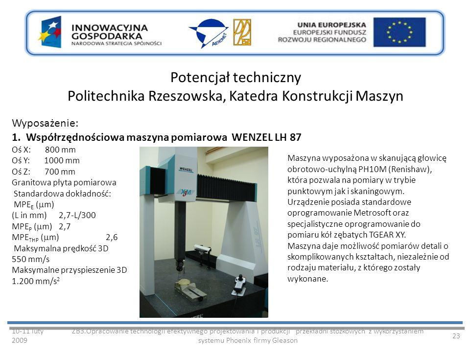 Potencjał techniczny Politechnika Rzeszowska, Katedra Konstrukcji Maszyn 10-11 luty 2009 ZB3.Opracowanie technologii efektywnego projektowania i produkcji przekładni stożkowych z wykorzystaniem systemu Phoenix firmy Gleason 23 Wyposażenie: 1.