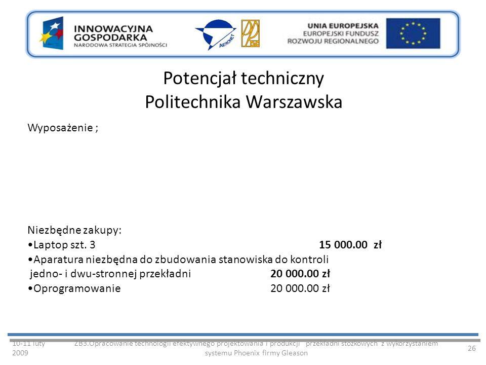 Potencjał techniczny Politechnika Warszawska 10-11 luty 2009 ZB3.Opracowanie technologii efektywnego projektowania i produkcji przekładni stożkowych z wykorzystaniem systemu Phoenix firmy Gleason 26 Wyposażenie ; Niezbędne zakupy: Laptop szt.
