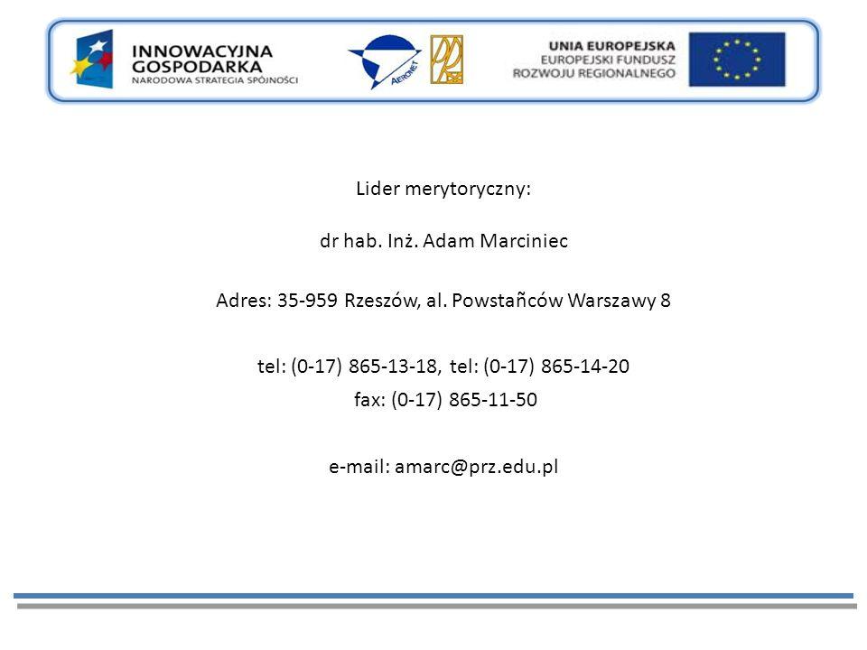 Lider merytoryczny: dr hab. Inż. Adam Marciniec Adres: 35-959 Rzeszów, al.