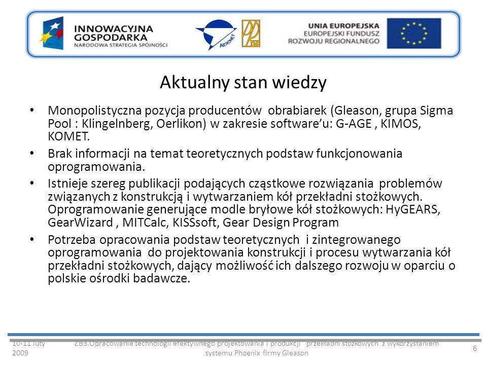Aktualny stan wiedzy Monopolistyczna pozycja producentów obrabiarek (Gleason, grupa Sigma Pool : Klingelnberg, Oerlikon) w zakresie softwareu: G-AGE, KIMOS, KOMET.