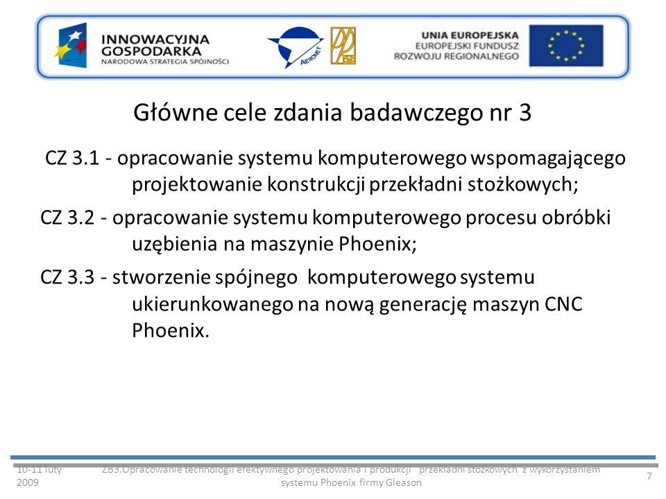 Główne cele zdania badawczego nr 3 CZ 3.1 - opracowanie systemu komputerowego wspomagającego projektowanie konstrukcji przekładni stożkowych; CZ 3.2 - opracowanie systemu komputerowego procesu obróbki uzębienia na maszynie Phoenix; CZ 3.3 - stworzenie spójnego komputerowego systemu ukierunkowanego na nową generację maszyn CNC Phoenix.