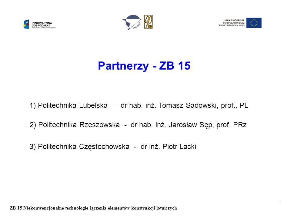 Partnerzy - ZB 15 ZB 15 Niekonwencjonalne technologie łączenia elementów konstrukcji lotniczych 1) Politechnika Lubelska - dr hab.