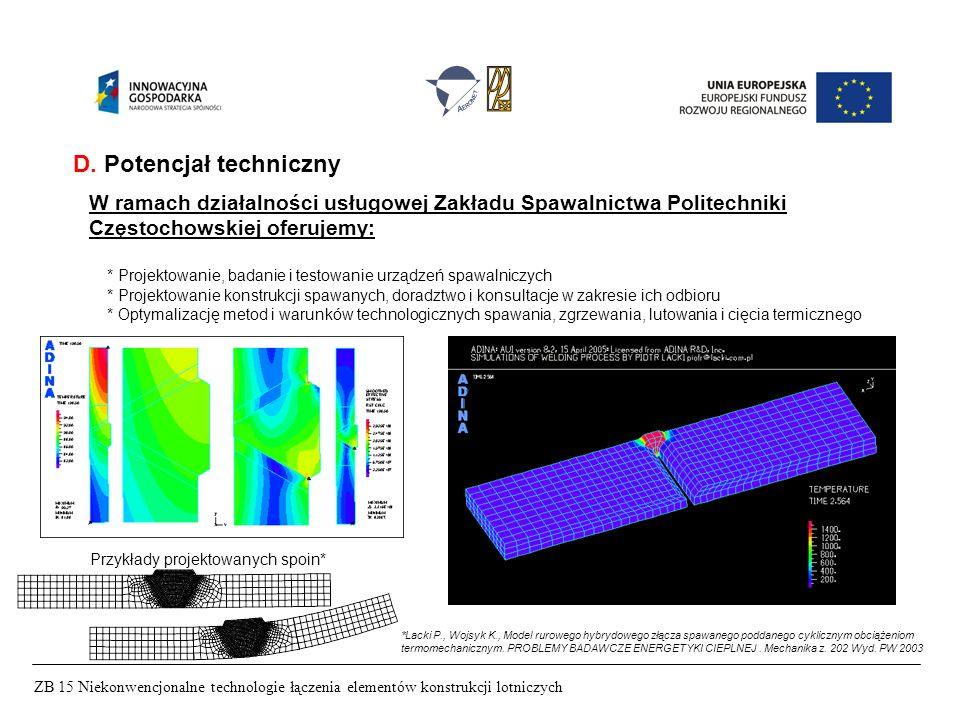 ZB 15 Niekonwencjonalne technologie łączenia elementów konstrukcji lotniczych D. Potencjał techniczny W ramach działalności usługowej Zakładu Spawalni