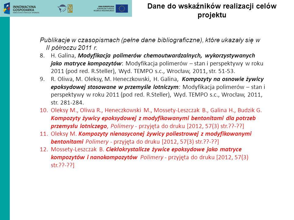 Dane do wskaźników realizacji celów projektu Publikacje w czasopismach (pełne dane bibliograficzne), które ukazały się w II półroczu 2011 r. 8.H. Gali