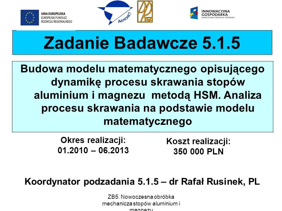 ZB5. Nowoczesna obróbka mechanicza stopów aluminium i magnezu Zadanie Badawcze 5.1.5 Budowa modelu matematycznego opisującego dynamikę procesu skrawan