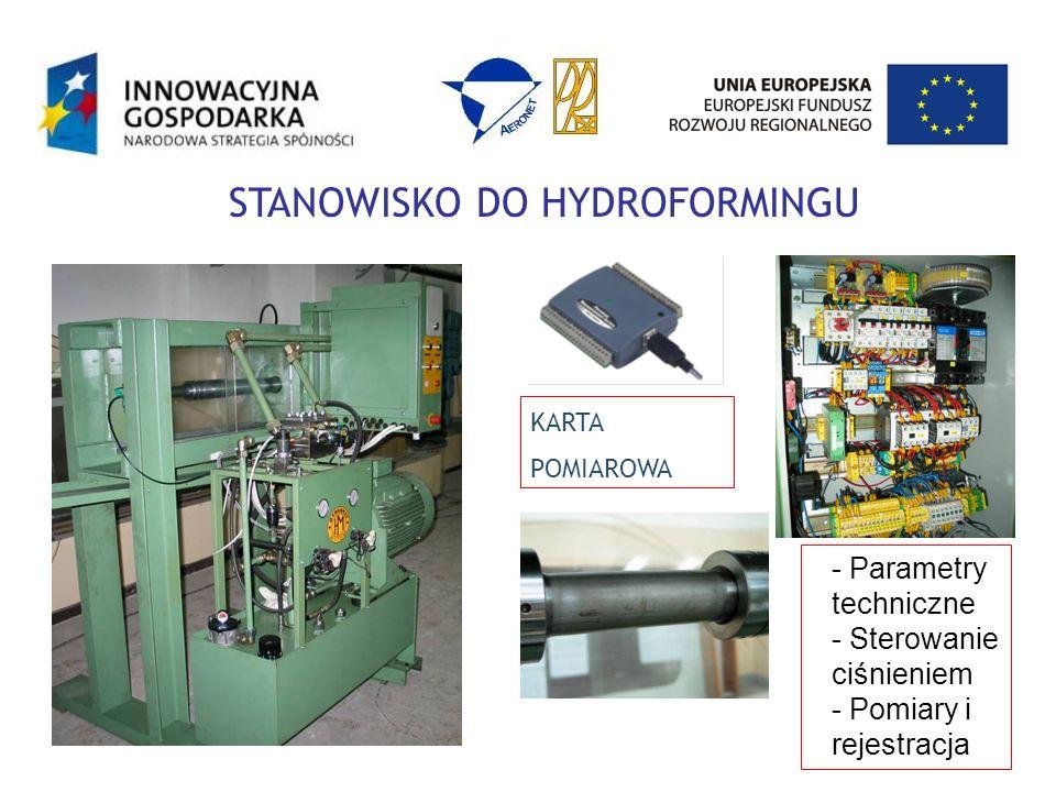 KARTA POMIAROWA STANOWISKO DO HYDROFORMINGU - Parametry techniczne - Sterowanie ciśnieniem - Pomiary i rejestracja