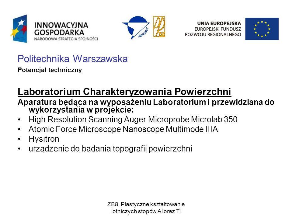 Politechnika Warszawska Potencjał techniczny Laboratorium Charakteryzowania Powierzchni Aparatura będąca na wyposażeniu Laboratorium i przewidziana do