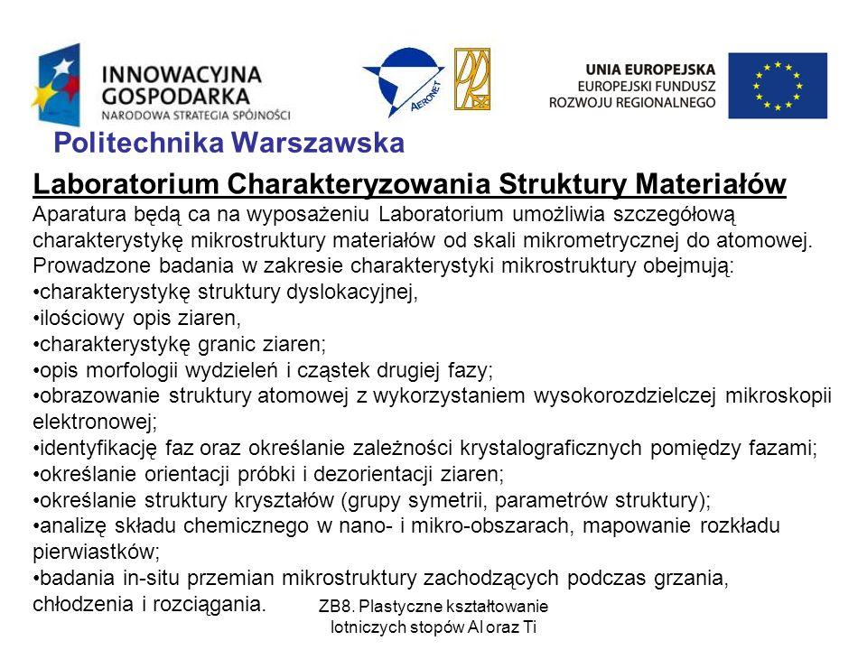 ZB8. Plastyczne kształtowanie lotniczych stopów Al oraz Ti Politechnika Warszawska Laboratorium Charakteryzowania Struktury Materiałów Aparatura będą
