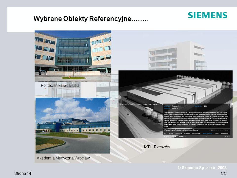 Strona 14 © Siemens Sp. z o.o. 2008 CC Wybrane Obiekty Referencyjne…….. Politechnika Gdańska MTU Rzeszów Akademia Medyczna Wrocław