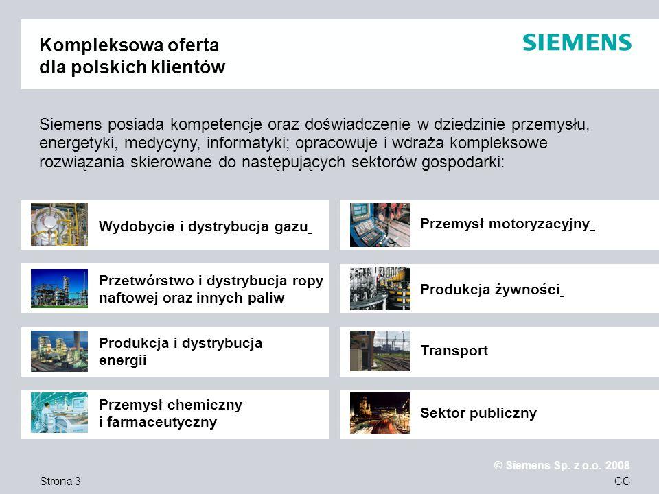 Strona 14 © Siemens Sp.z o.o. 2008 CC Wybrane Obiekty Referencyjne……..