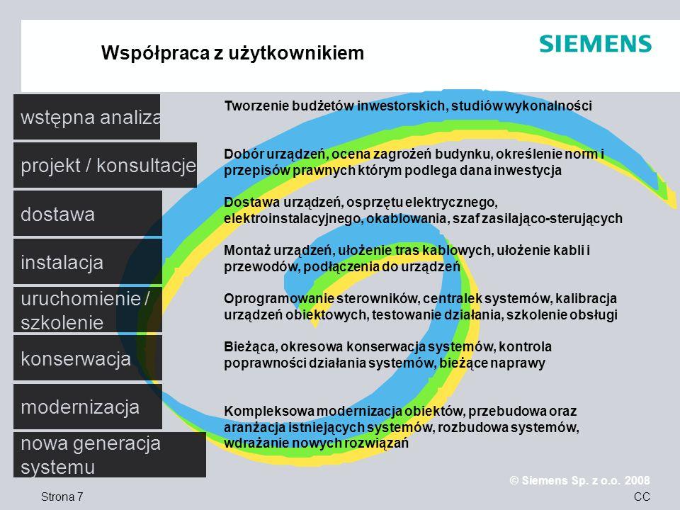Strona 7 © Siemens Sp. z o.o. 2008 CC Współpraca z użytkownikiem wstępna analiza projekt / konsultacje dostawa instalacja uruchomienie / szkolenie kon