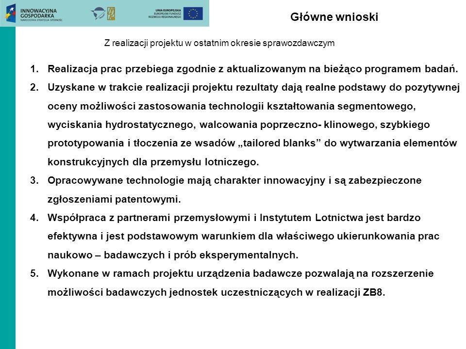Główne wnioski Z realizacji projektu w ostatnim okresie sprawozdawczym 1.Realizacja prac przebiega zgodnie z aktualizowanym na bieżąco programem badań