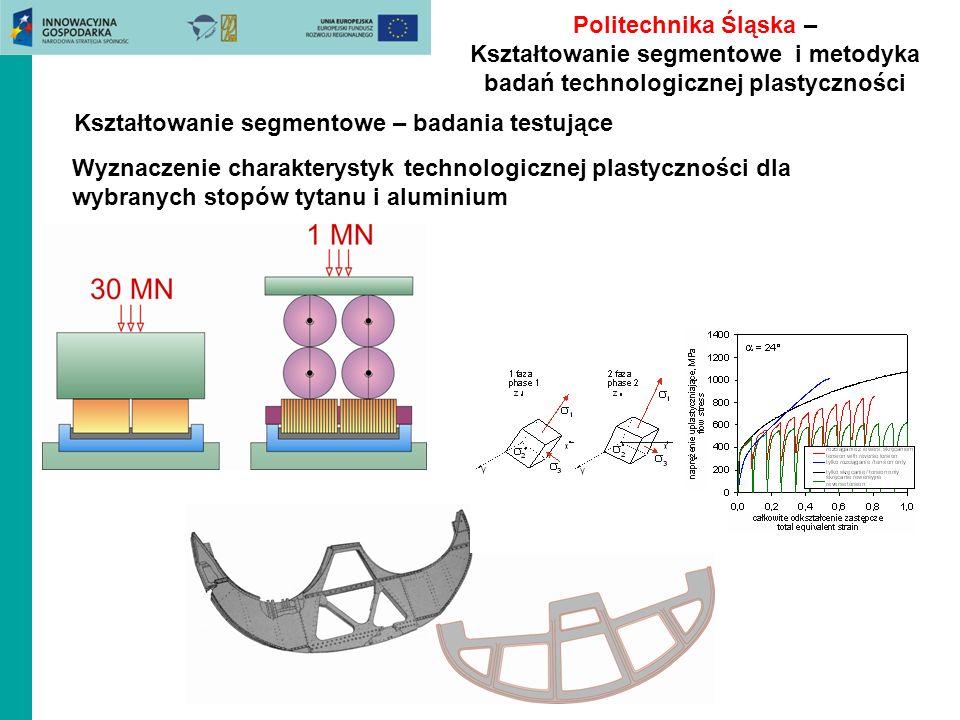 Politechnika Śląska – Kształtowanie segmentowe i metodyka badań technologicznej plastyczności Wyznaczenie charakterystyk technologicznej plastyczności