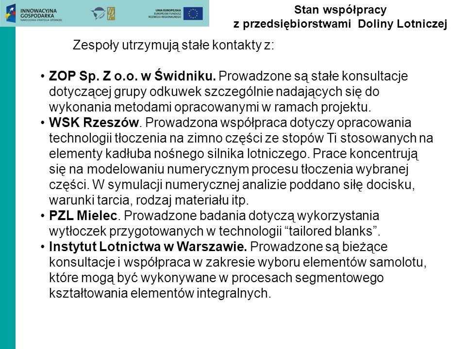 Stan współpracy z przedsiębiorstwami Doliny Lotniczej Zespoły utrzymują stałe kontakty z: ZOP Sp. Z o.o. w Świdniku. Prowadzone są stałe konsultacje d