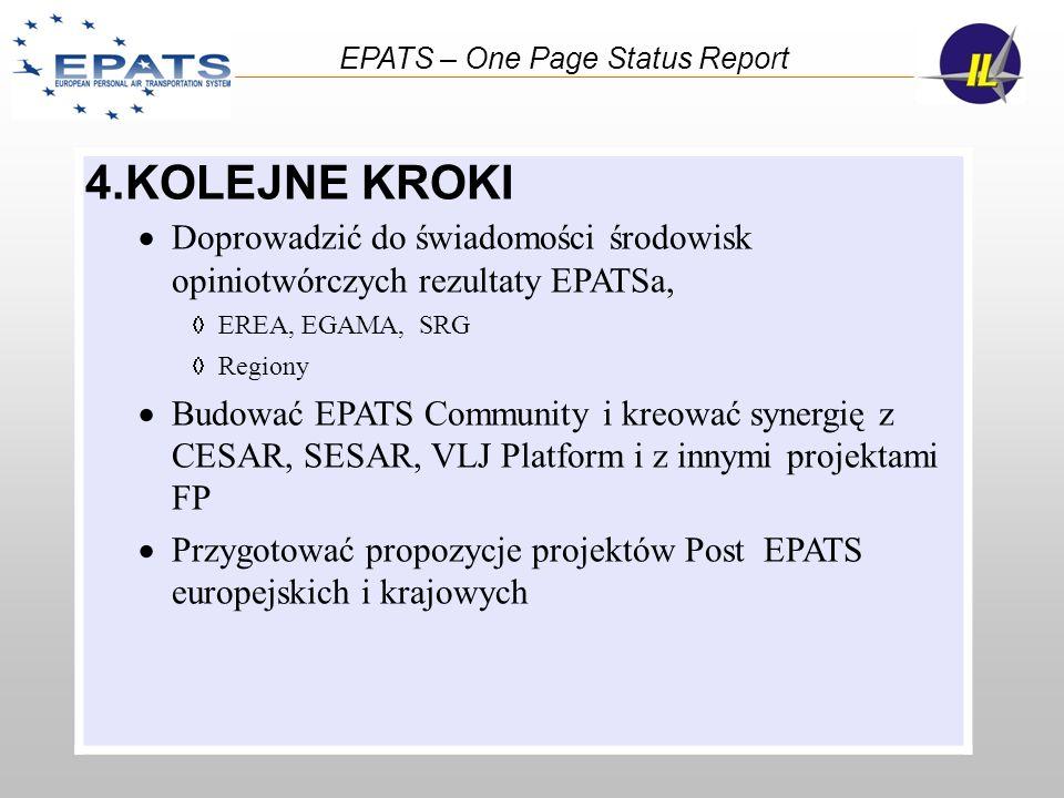 4.KOLEJNE KROKI Doprowadzić do świadomości środowisk opiniotwórczych rezultaty EPATSa, EREA, EGAMA, SRG Regiony Budować EPATS Community i kreować syne