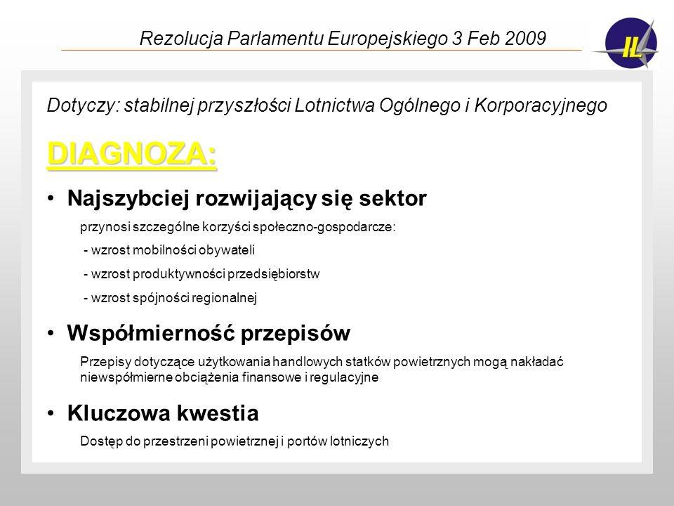 Rezolucja Parlamentu Europejskiego 3 Feb 2009 ZALECENIA: Przepustowość lotnisk i przestrzeni powietrznej PE zachęca Państwa Członkowskie, władze regionalne i lokalne do inwestowania w modernizację i tworzenie małych i średnich portów lotniczych, PE oczekuje, że SESAR zwiększy przepustowość przestrzeni powietrznej również i dla LOiK bez nakładania niepotrzebnych obciążeń zbyt kosztownych wymogów technologicznych na małe statki powietrzne (VFR) Inne kwestie PE popiera inicjatywy Clean Sky, CESAR dotyczące poprawy parametrów ekologicznych przez użycie czystszych paliw, czy wspieranie badań i rozwoju technologicznego i innowacji, PE wzywa Komisję do udzielenia większego wsparcia badaniom i rozwojowi i innowacjom LOiK, a także do ułatwienia unijnemu przemysłowi LOiK dostępu do rynków światowych.