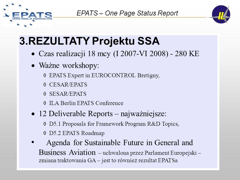 3.REZULTATY Projektu SSA Czas realizacji 18 mcy (I 2007-VI 2008) - 280 KE Ważne workshopy: EPATS Expert in EUROCONTROL Bretigny, CESAR/EPATS SESAR/EPA