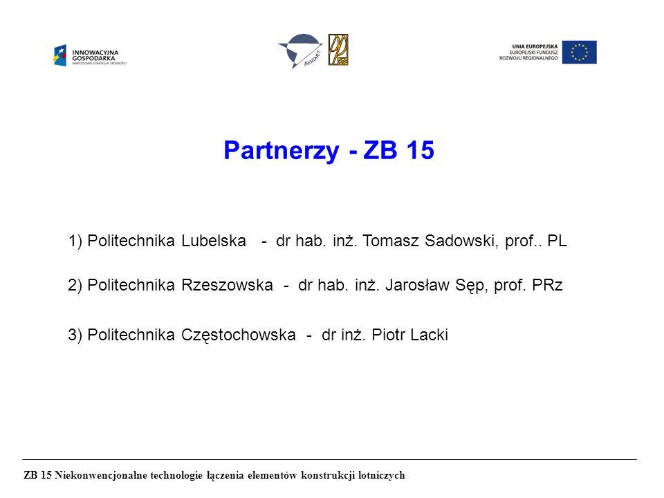 Partnerzy - ZB 15 ZB 15 Niekonwencjonalne technologie łączenia elementów konstrukcji lotniczych 1) Politechnika Lubelska - dr hab. inż. Tomasz Sadowsk