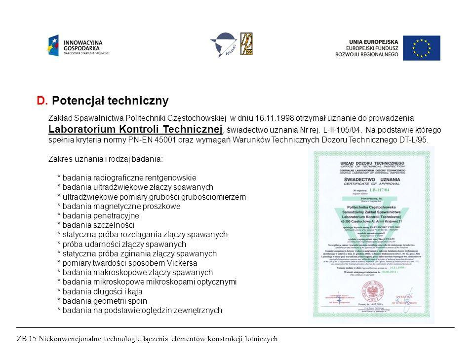 ZB 15 Niekonwencjonalne technologie łączenia elementów konstrukcji lotniczych D. Potencjał techniczny Zakład Spawalnictwa Politechniki Częstochowskiej
