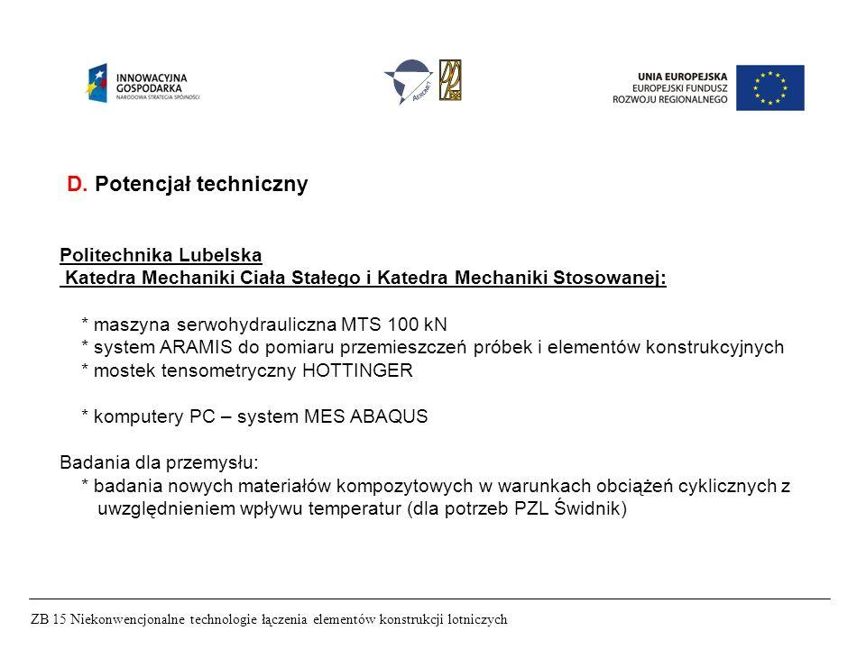 ZB 15 Niekonwencjonalne technologie łączenia elementów konstrukcji lotniczych D. Potencjał techniczny Politechnika Lubelska Katedra Mechaniki Ciała St